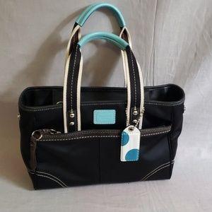 COACH Purse Hand Bag Black Canvas Medium